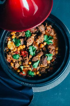 A traditional tagine recipe is made in a special earthen pot where meat is cooked slowly with fruit and nuts. This Lamb Tagine recipe is a loose adaptation.