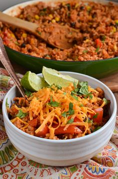 These Low Syn Turkey Rice Burrito Bowls make a great family meal - sit down and grab a bowl with your favorite toppings from the suggestions included.