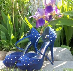Blue Spiked Sandals - MyHotShoes.com