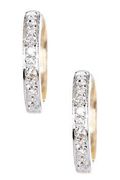 14K Yellow Gold Diamond Hoop Earrings - 0.05 ctw on HauteLook