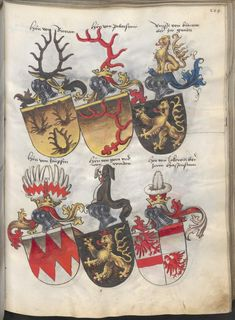 Grünenberg, Konrad: Das Wappenbuch Conrads von Grünenberg, Ritters und Bürgers zu Constanz um 1480 Cgm 145 Folio 214