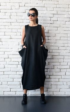 Maxi Linen Dress Black Linen Kaftan Plus Size Maxi Dress Long Sleeveless  Dress Everyday Casual Dress Loose Evening Comfortable Black Dress 68c419afff66