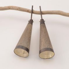 Sandra Enterline at Patina Gallery. Earrings, Oxidized sterling silver perforated large cone drop