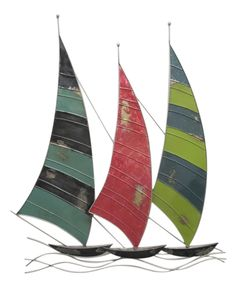 BY THREE HANDS CORP. $54.99-Triple Stripe Sailboat Wall Art | zulily / METAL / MEAS. 25 W X 1 D X 29.25 H