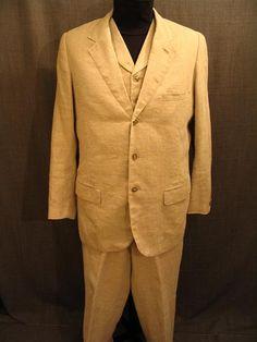 09007768 09018559 09017272 Suit Men's 1905 3pc, beige linen,  44L W36.JPG