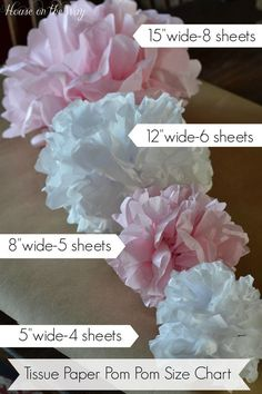 How to make different Tissue Paper Pom-Poms including a Size Chart. DIY party holiday decorations and paper crafts. day decorations for tables tissue paper How to Make Tissue Paper Pom-Poms in Different Sizes Tissue Pom Poms, Tissue Paper Flowers, Diy Flowers, Table Flowers, Wedding Flowers, Tulle Poms, Tulle Tutu, Flower Paper, Wedding Colors