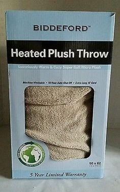 Biddeford Heated Electric Micro Plush Blanket Throw Auto Shut Off 50 x 62 Taupe