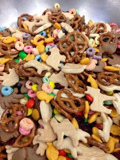 Zoo Trail Mix! Just mix together animal crackers, goldfish, craisins, m&ms, fruit loops, and pretzels. I would have added almonds or peanuts, but tried to be allergy friendly.