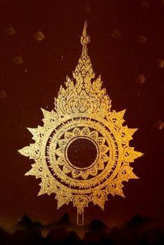 thai art gold painting pattern on wall Stock Photo
