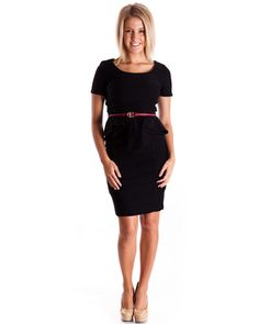Peplum Flap Suit Dress , Colors available in Black, Purple, and Royal Blue. #dress #suits #blackdress #officewear #formal #classy #newarrivals #shoponline #clothes #clotheseffect