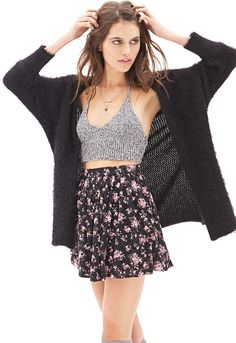 FOREVER 21 Floral Lace Mini Skirt
