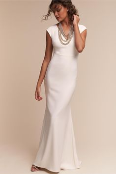 """Wedding Dresses Simple Elegant Classy If you are a bride that wants a simple, but gorgeous wedding gown, then consider looking for wedding dresses that live up to the theory """"Less is MoreR… Bhldn Wedding Dress, V Neck Wedding Dress, Wedding Dresses 2018, Wedding Bride, 2nd Marriage Wedding Dress, Wedding Dresses For Older Women, Older Bride Dresses, Tailored Wedding Dress, Wedding Venues"""