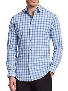 Giorgio Armani Slim-Fit Gingham Check Sportshirt - Blue  - Size 38 (15