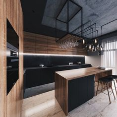 32 Amazing Modern Wood Kitchen Design Ideas - Unless you plan to spend the rest of your life in your current home if you are planning a kitchen makeover then best advice is not only to think about. Kitchen Room Design, Loft Kitchen, Modern Kitchen Design, Home Decor Kitchen, Interior Design Kitchen, Industrial Kitchen Design, Industrial Storage, Industrial Style, Kitchen Island