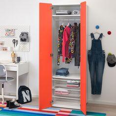STUVA / FRITIDS Szafa - biały, czerwony - IKEA Clothes Rail, Hanging Clothes, Ikea Stuva, Soft Closing Hinges, Frame Shelf, Kids Wardrobe, Wall Plug, Smart Storage