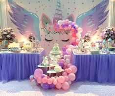 Epic winged unicorn party set up Unicorn Themed Birthday Party, Birthday Party Desserts, First Birthday Parties, Birthday Party Decorations, Birthday Ideas, Cake Birthday, 5th Birthday, Unicorn Baby Shower, Pony Party