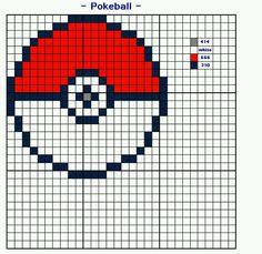 Poke ball,  cross stitch style #gottacatchemall