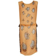 Preowned 1920's Goupy Haute-couture Tangerine Silk & Metallic-gold... ($2,200) ❤ liked on Polyvore featuring dresses, orange, metallic cocktail dress, orange lace dress, roaring 20s dress, silk dress and 1920s dress
