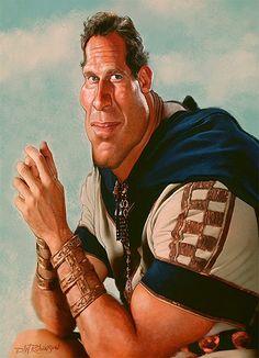 Caricatura de Charlton Heston como Judah en la película Ben-Hur