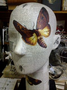 "DARKER ARTS "" Death , so called , is a thing which makes men weep, And yet a third of life is passed in sleep "" Lord Byron Styrofoam Recycling, Decopatch Ideas, Deco Podge, Diy Hat Rack, Styrofoam Head, Mannequin Art, Vintage Sheets, Vintage Crafts, Craft Sale"