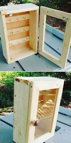 Wood Pallet Ideas Pallet keys cabinet - Pallet wall shelf ideas are much in desire. It is the grace of the pallet walls that make the outlook of your beautiful home to … Recycled Pallets, Wooden Pallets, Wooden Diy, Pallet Wood, Outdoor Pallet, Pallet Wall Shelves, Pallet Walls, Pallet Crafts, Diy Pallet Projects