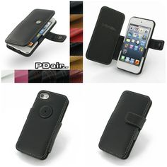 PDair Leather Case for Apple iPod Touch 5th Generation - Book Type (Black)