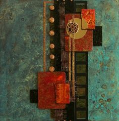 Collection of contemporary sculptural collage assemblage paintings by Cleveland artist Donna Holdsworth