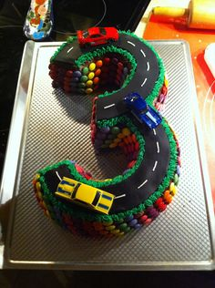 3 year old boy birthday cake, if anyone wants to make this let me know lol