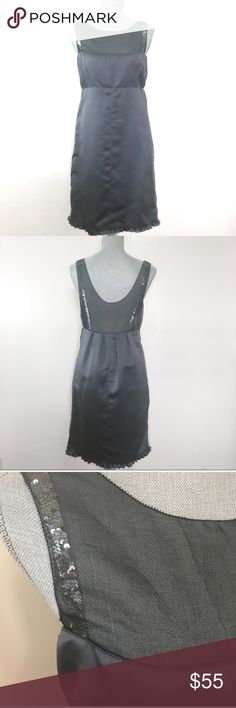 """Vera Wang formal dress with sequin straps Vera Wang Maids beautiful dark gray formal dress with sequin straps. Altered at side; please note measurements (approx measurements laying flat): chest - 14"""", waist - 14"""", length - 36"""", hips - 18.5"""". Great condition Vera Wang Dresses"""