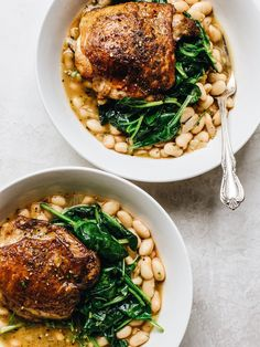 Roasted Chicken Thighs & Saucy Rosemary Beans — The Daley Plate - recipes - Lemon Garlic Salmon, Salmon And Asparagus, Protein Pasta, Ground Turkey Tacos, Leftover Rotisserie Chicken, Chicken Leftovers, Pot Pasta, Spinach And Cheese, Sauteed Spinach