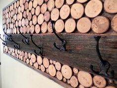 Wood Coat Rack Hooks Rustic Modern by RusticCharmDesign