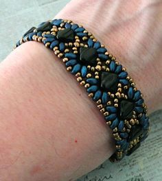 Linda's Crafty Inspirations: Bracelet of the Day: MiniDuo Band - Suede Blue & Jet