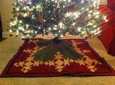 Snowflake christmas tree skirt by me!