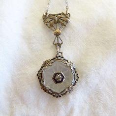 Sterling Camphor Glass Necklace with by VintageVogueTreasure #vogueteam #camphorglass #decolavalier