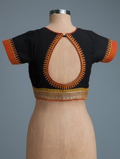 Buy Black Orange Ochre Embroidered Cotton Blouse Women Blouses Magic Hand & Ikat Online at Jaypore.com