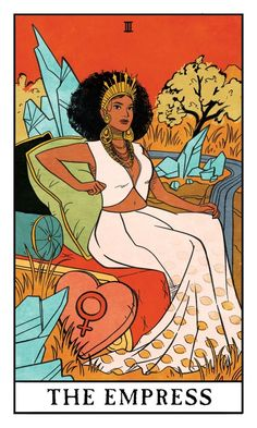 The Empress - Modern Witch Tarot, an art print by Lisa Sterle This is a gallery-quality giclée art print on cotton rag archival paper, printed with archival inks. Grammy Outfits, Arte Latina, Modern Witch, Tarot Spreads, The Empress, Hippie Art, Feminist Art, Tarot Decks, Tarot Cards