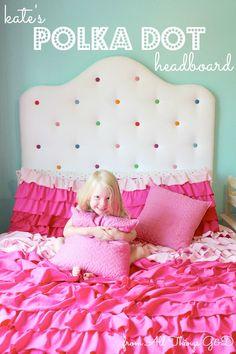 headboard idea for kids room polka dot, bedroom ideas, reupholster Girls Headboard, Diy Headboards, Girls Bedroom, Headboard Ideas, Headboard Designs, Trendy Bedroom, Guest Bedrooms, Velvet Tufted Headboard, Diy Home Decor Bedroom