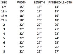 Pillowcase dress measurements