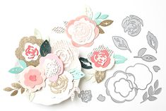 Maggie Holmes Confetti Products for Crate Paper- These are samples of flowers to make with her new thin dies
