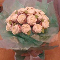 Cream rose cupcake bouquet