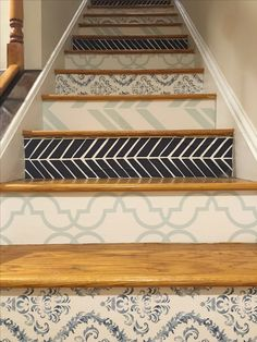 Adhesive wallpaper in alternating patterns adds a little flair to our stair risers!