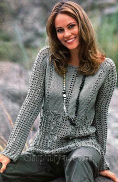 Ажурный пуловер с узором из листьев