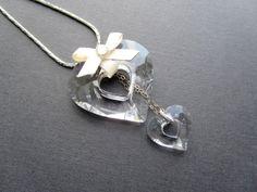 swarovski ketting met pendant verzilverd kristal