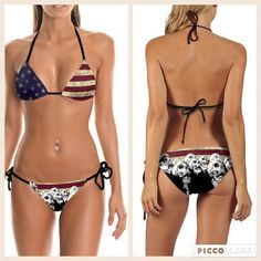 US Flag w/ Skulls Bikini Calling all skull & bones fans! This unique American Flag bikini is perfect for summer & Fourth of July!  Fits like a S/M⚡️Price will be lowered soon. ⚡️Click like to be notified or make an offer using the offer button. ⚡️Same day or next day shipping! Swim Bikinis