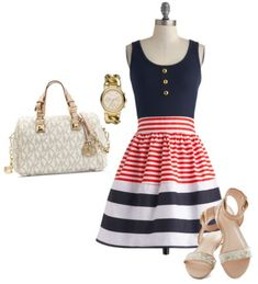 I love this 4th of July Summer Outfit! Red, White,  and Blue Nautical Dresses for Women!!