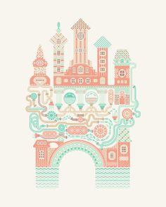 t_shirt illustrations by Alexandra Rusu, via Behance