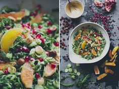 Shaved Brussels Sprout Salad (w/kale, oranges, pomegranate, walnuts or hazelnuts + dressing w/tahini, honey, dijon, lemon juice, olive oil)