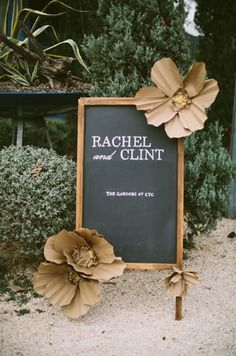 Chalkboard wedding sign {Photo by Taylor Lord via Project Wedding}