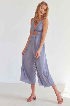 Silence + Noise Tori Twisted Cupro Jumpsuit - Urban Outfitters