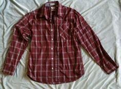 Volcom Red Tartan Plaid Small Classic Fit Button Down Long Sleeve Mens Shirt #Volcom #ButtonFront
